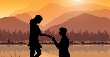 un hombre propone matrimonio a una mujer vector