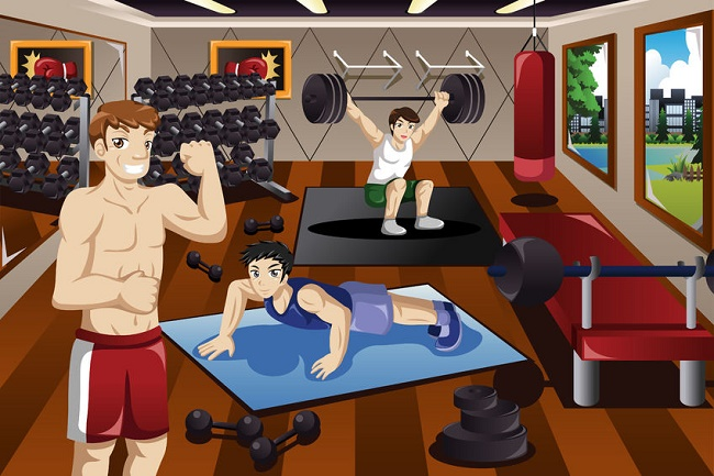 gimnasio personas haciendo ejercicio ilustración