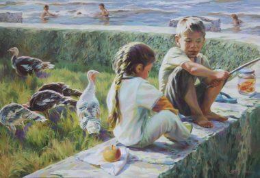 chicos al costado de un rio