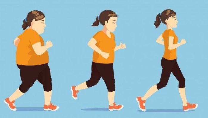 corriendo para perder el exceso de peso