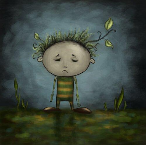 Niño triste por no poder confiar en los demás