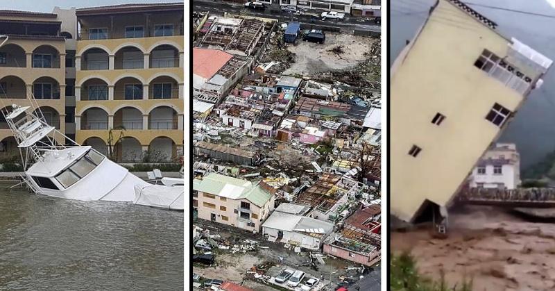 fotos de la isla de san martín devastada por el paso del huracán Irma