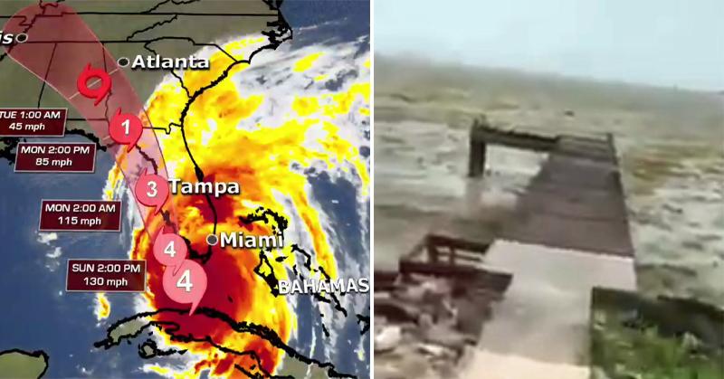 huracán irma chupa agua de las playas