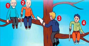 personas torpres sobre la rama de un árbol