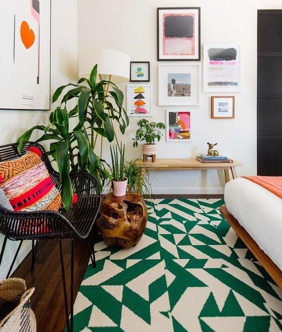 decorar con alfombras geométricas
