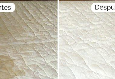 colchón con manchas y malos olores antes y después de su correcta limpieza