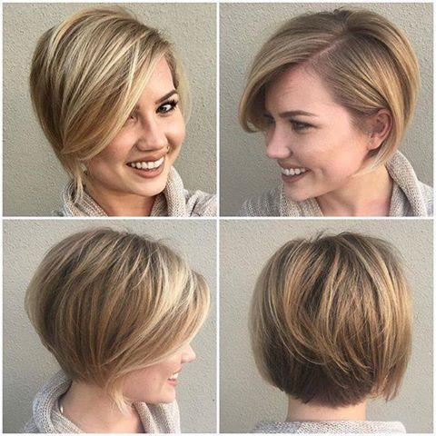 mujer rubia con un corte de pelo corto y un flequillo lateral