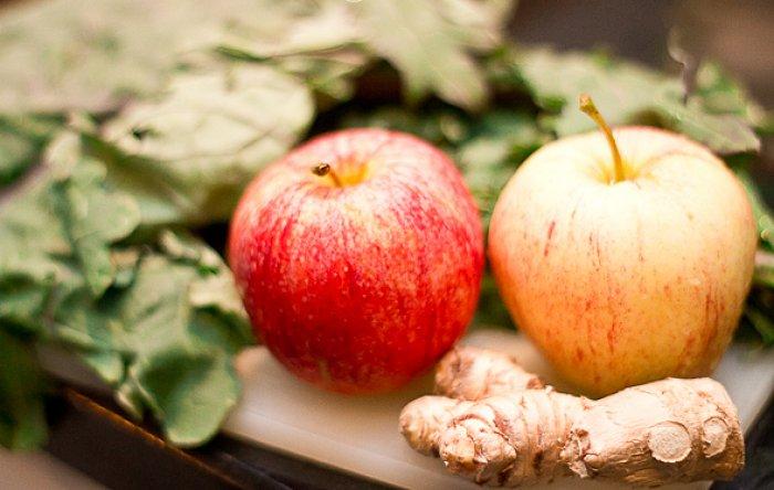 manzana y jengibre para shot de moringa