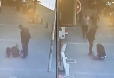 video muestra como un hombre golpea a su ex-pareja
