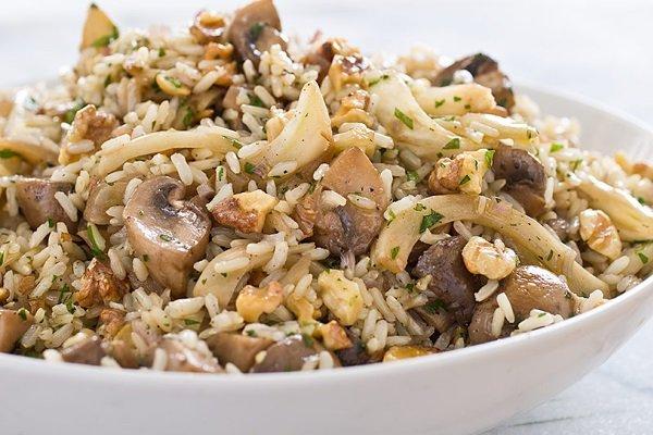 dieta alcalina arroz con champiñones