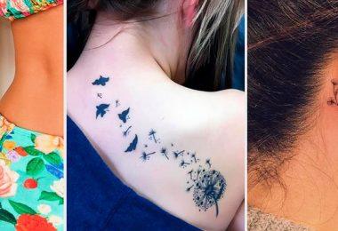 mujeres con diferentes estilos de tatuajes con frases o dibujos pequeños