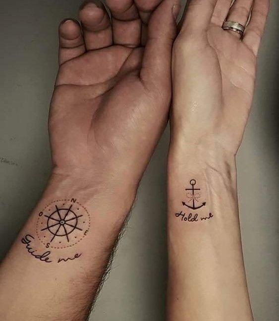 tatuajes para parejas con tema marítimo