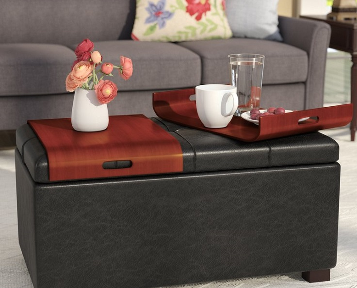 ideas para almacenar con mueble otomano