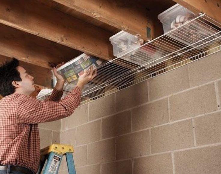 ideas para almacenar en el techo debajo de las vigas