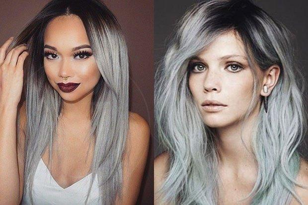 2 chicas con su cabello en tono humo