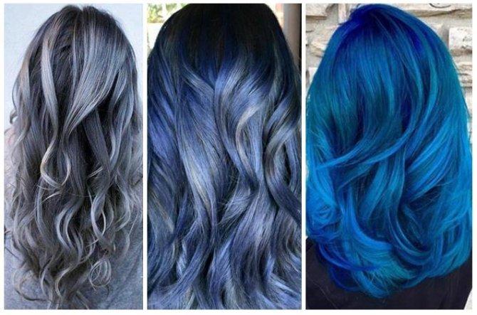 mujeres de espalda con diferentes cortes de cabello y teñido en diferentes tonos entre azul y gris