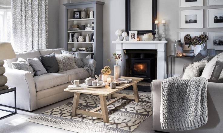 hogar acogedor con mantas sobre muebles