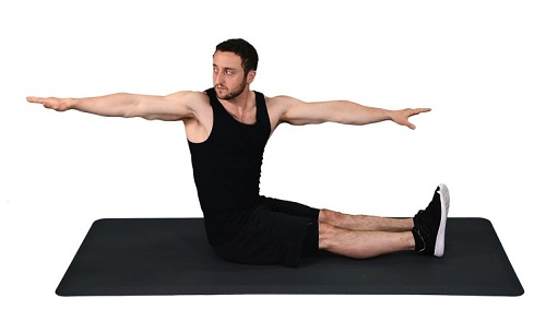 estiramientos abdominales giro de la columna vertebral sentada