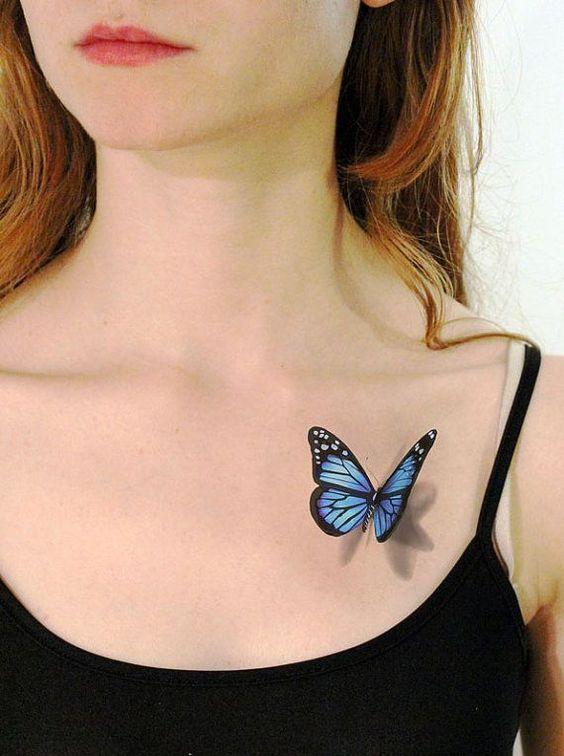 tatuaje de una mariposa azul en 3d