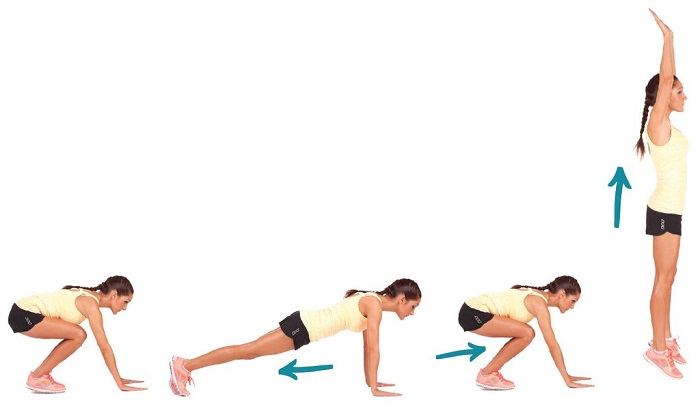 mujeres mayores burpees