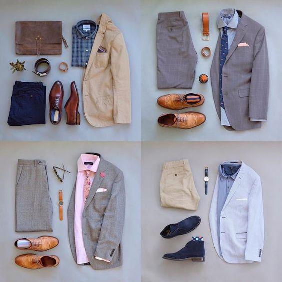 Combinaciones de chaquetas claras (grises, blancas, celestes) con zapatos
