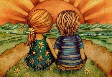 Dibujo dos niños que saben amar
