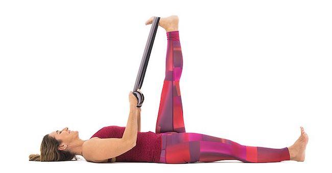 sesión de yoga Supta Padangusthasana I