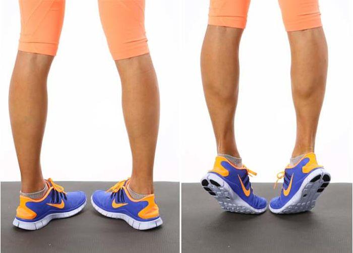 Practicando ejercicio para fortalecer las pantorrillas