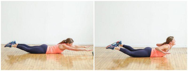 Mujer realziando ejercicios en el piso