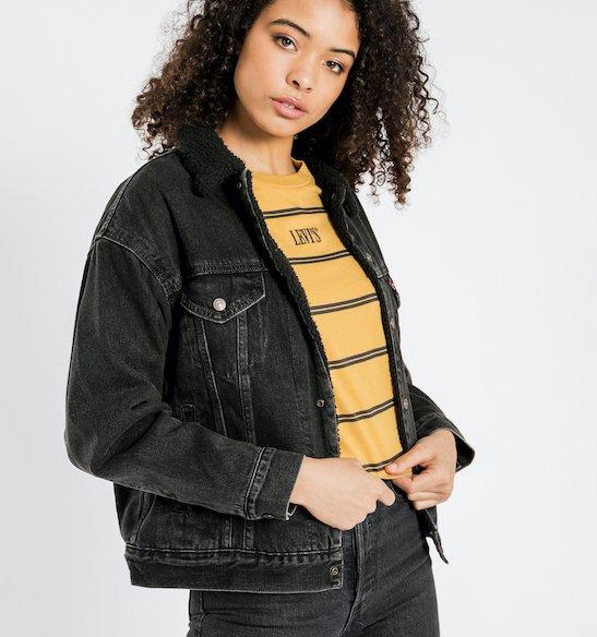 chaquetas de mezclilla negra