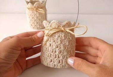 Descubre cómo vestir frascos a crochet (Portavelas)