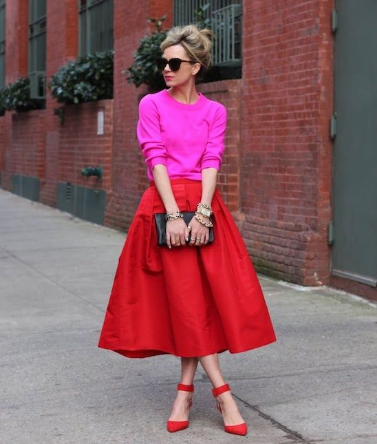 outfits para mujeres contraste de colores