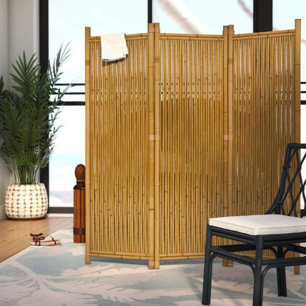 paneles divisorios de ratán y bambú