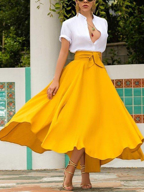 tendencias de moda falda amarilla