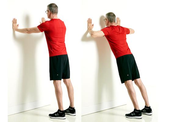 ejercicios de quilibrio flexiones de pared