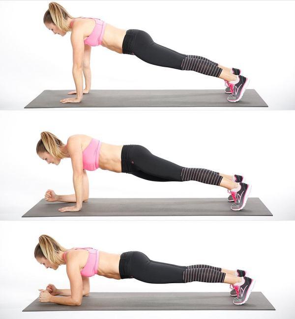 variaciones de plank caminando hacia abajo
