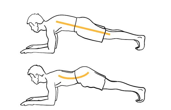 variaciones de plank de inclinación pélvica posterior