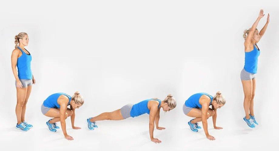 Mujer realizando el ejercicio burpee